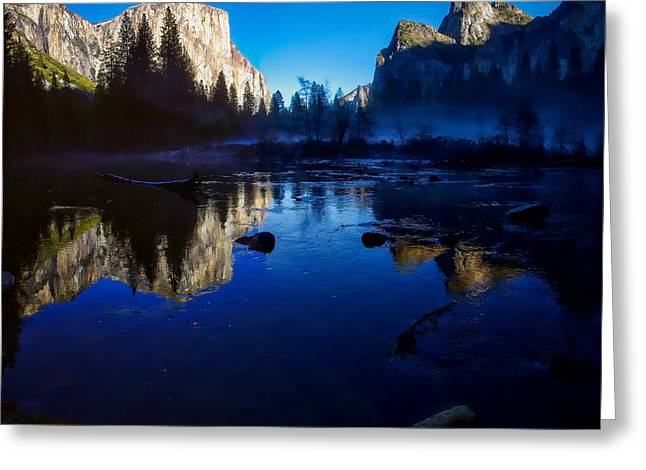 Cathedral Rock Greeting Cards - Valley View Yosemite National Park Reflection Greeting Card by Scott McGuire