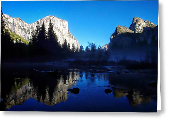 Cathedral Rock Photographs Greeting Cards - Valley View Yosemite National Park Waterscape Greeting Card by Scott McGuire