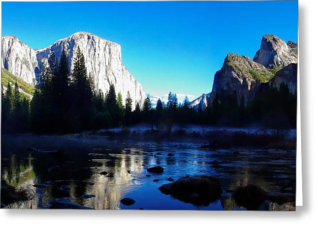 Cathedral Rock Greeting Cards - Valley View Yosemite National Park Winterscape Greeting Card by Scott McGuire