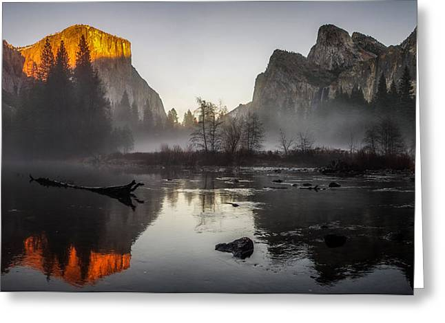 Cathedral Rock Greeting Cards - Valley View Yosemite National Park Winterscape Sunset Greeting Card by Scott McGuire