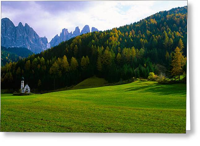 Mountain Greeting Cards - Valley With A Church And Mountains Greeting Card by Panoramic Images