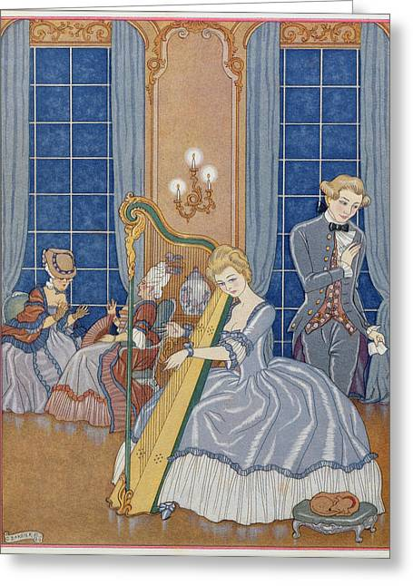 Playing Music Greeting Cards - Valmont Seducing his Victim Greeting Card by Georges Barbier