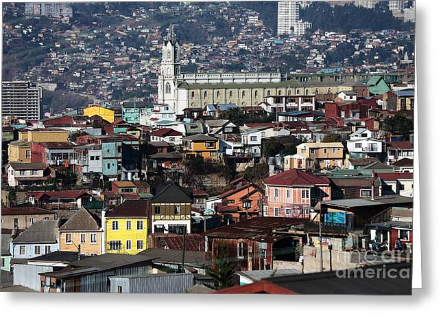 Valparaiso Buildings Greeting Card by John Rizzuto
