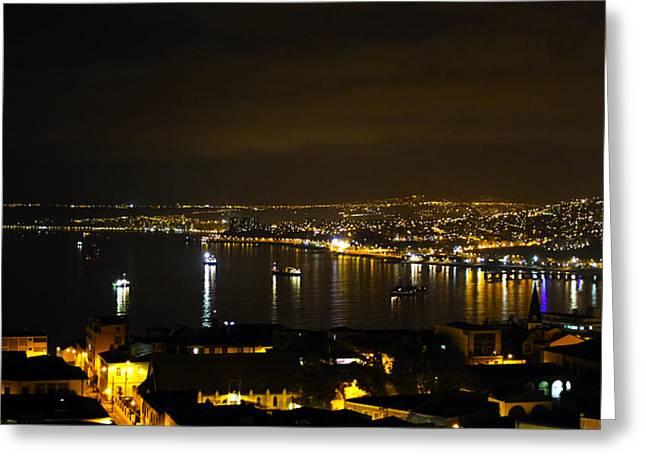 Valparaiso Harbor at Night Greeting Card by Kurt Van Wagner