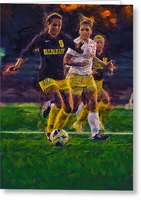 Rumpled Greeting Cards - Valparaiso University Soccer Star Athlete Sydney Rumple Digitally Painted Greeting Card by David Haskett