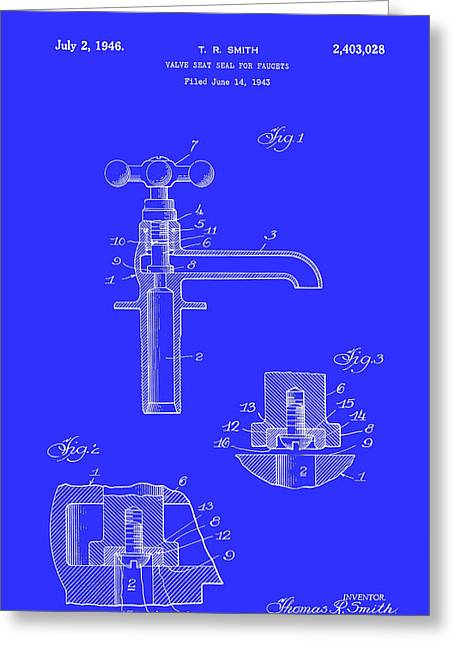 Faucet Greeting Cards - Valve Seal for Faucets Patent 1946 Greeting Card by Mountain Dreams