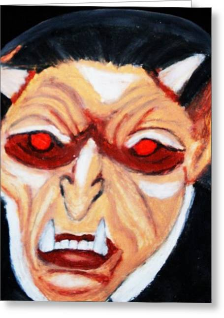 Monster Pastels Greeting Cards - Vampire Devil Greeting Card by Jo-Ann Hayden