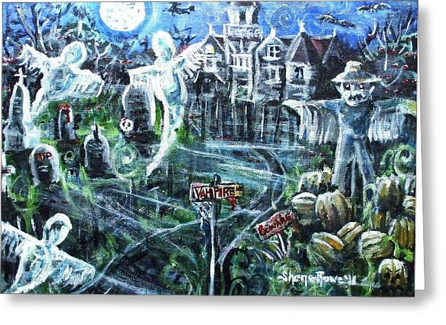 """haunted House"" Mixed Media Greeting Cards - Vampire Lane Greeting Card by Shana Rowe"