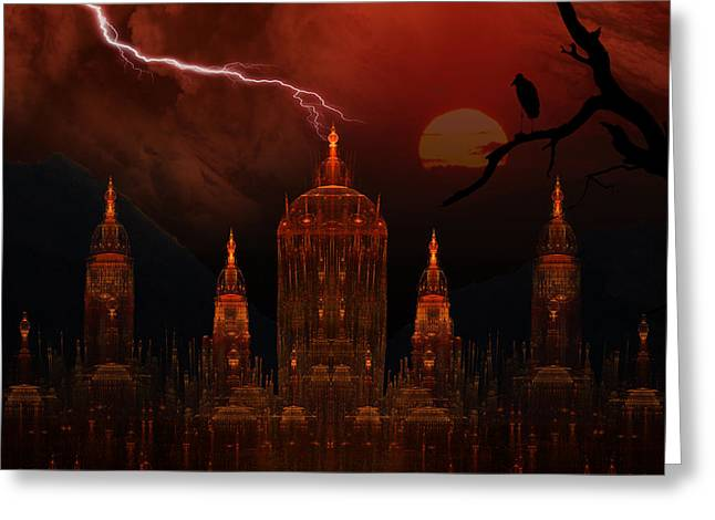 Phil Clark Greeting Cards - Vampire Palace Greeting Card by Phil Clark