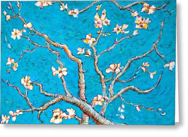 Van Gogh Almond Blossom Slightly Interpreted Greeting Card by Ion vincent DAnu