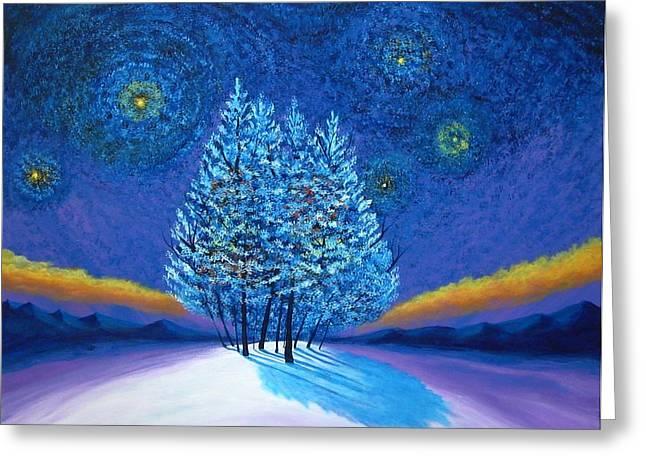 Van Gogh Style Greeting Cards - Van Gogh Blue Christmas Greeting Card by Reggie Hart
