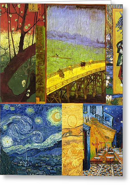 Night Cafe Greeting Cards - Van Gogh Collage Greeting Card by Philip Ralley
