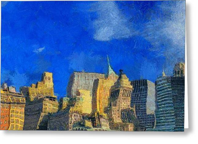 New Mind Greeting Cards - Van Gogh Meets Manhattan Greeting Card by Dan Sproul