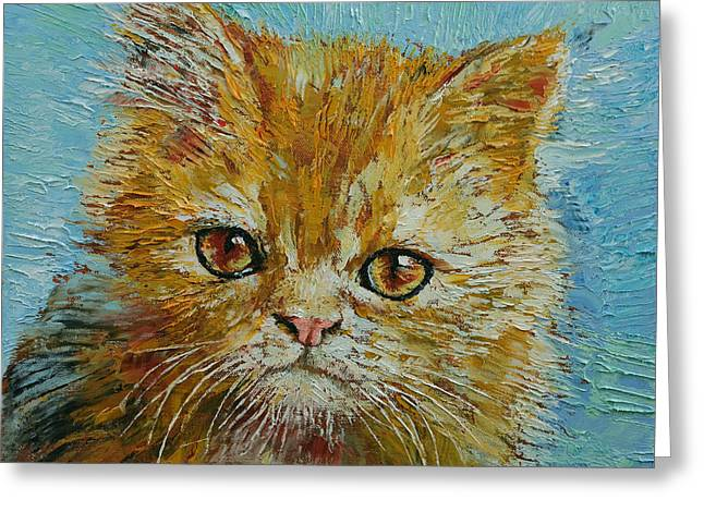Orange Tabby Paintings Greeting Cards - Van Gogh Greeting Card by Michael Creese