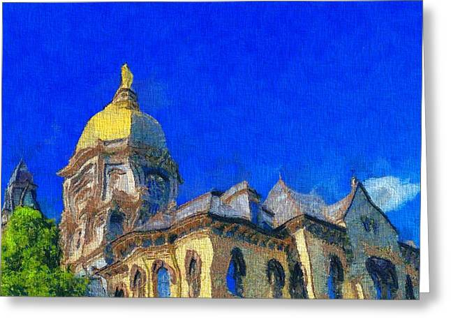 Indiana Photography Paintings Greeting Cards - Van Gogh Notre Dame Greeting Card by Dan Sproul