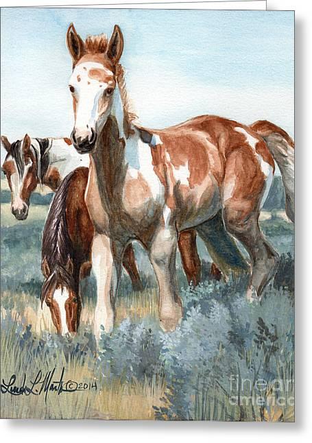 Wild Horse Greeting Cards - Van Gogh of Sand Wash Basin Colorado Greeting Card by Linda L Martin