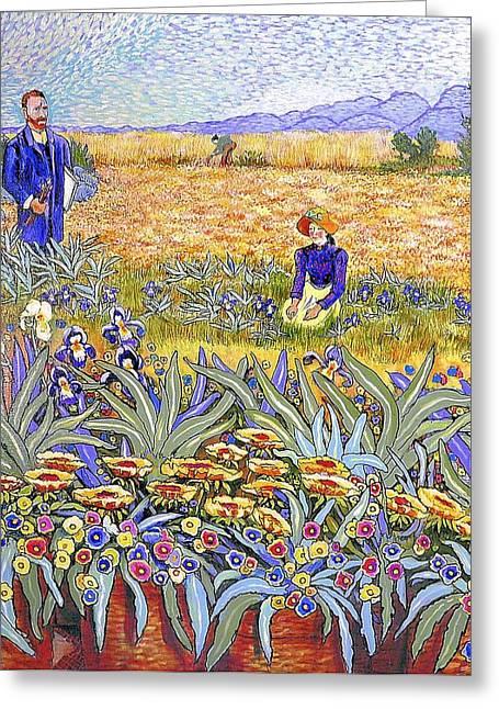 Van Gogh Style Paintings Greeting Cards - Van Gogh Revisited Greeting Card by JAXINE Cummins