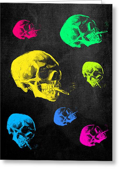 Adaptation Greeting Cards - Van Gogh Skull with burning cigarette remixed Greeting Card by Filippo B