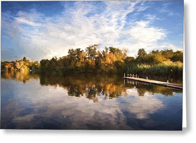 Colorful Cloud Formations Greeting Cards - Van Gogh style digital painting Beautiful sunset over Autumn Fall lake with crystal clear reflec Greeting Card by Matthew Gibson