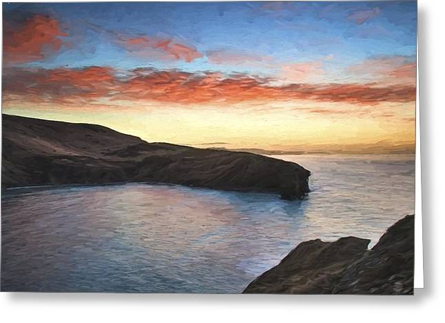 Colorful Cloud Formations Greeting Cards - Van Gogh style digital painting Beautiful vibrant sunrise over rocky coastline Greeting Card by Matthew Gibson