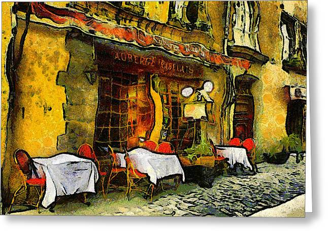 Fine Mixed Media Greeting Cards - Van Gogh Style Restaurant Greeting Card by Georgiana Romanovna