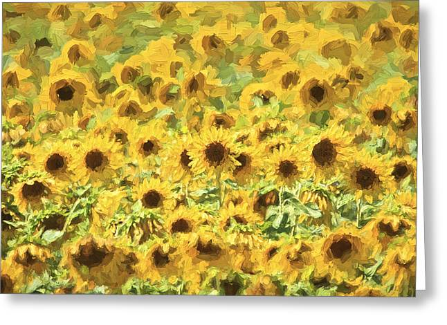 Kitchen Photos Paintings Greeting Cards - Van Gogh Sunflowers Greeting Card by David Letts