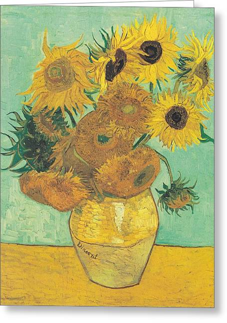Van Gogh Sunflowers Greeting Card by Georgia Fowler