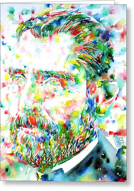 Psychedelic Van Greeting Cards - Van Gogh  Watercolor Portrait Greeting Card by Fabrizio Cassetta