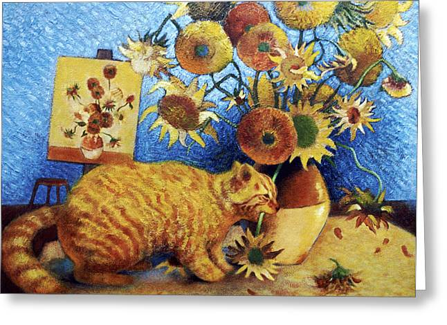 Sunflower Art Greeting Cards - Van Goghs Bad Cat Greeting Card by Eve Riser Roberts