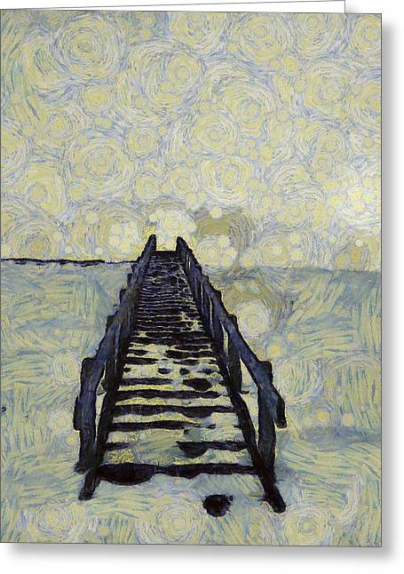 Storybook Mixed Media Greeting Cards - Van Goghs Starry Walk Greeting Card by Dan Sproul