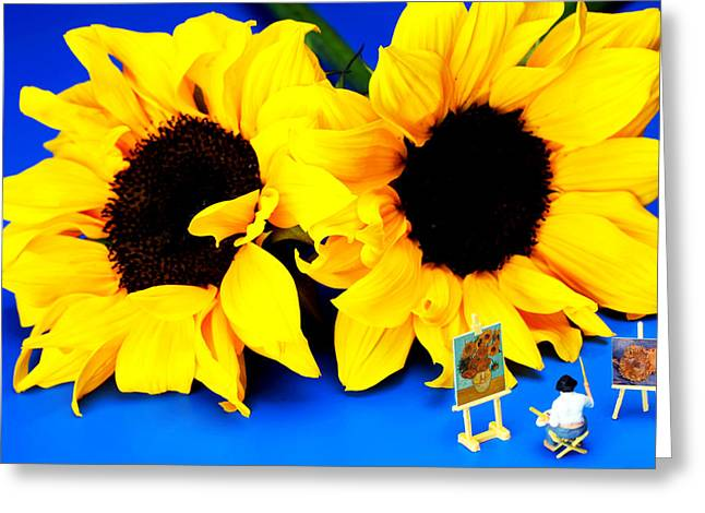 Van Gogh's Sunflower Miniature Art Greeting Card by Paul Ge