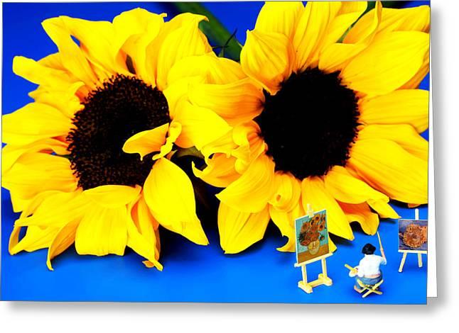 Van Gogh's Sunflower miniature art Greeting Card by Paul Ge