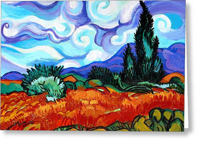 Canvas Panel Greeting Cards - Van Goghs Wheat Field With Cypress Greeting Card by Genevieve Esson