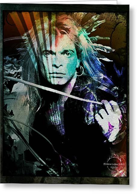 Van Halen - David Lee Roth Greeting Card by Absinthe Art By Michelle LeAnn Scott