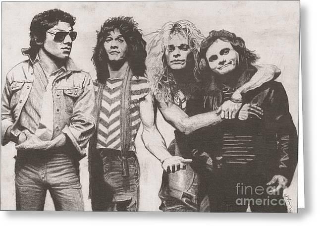 Rocks Drawings Greeting Cards - Van Halen Greeting Card by Jeff Ridlen