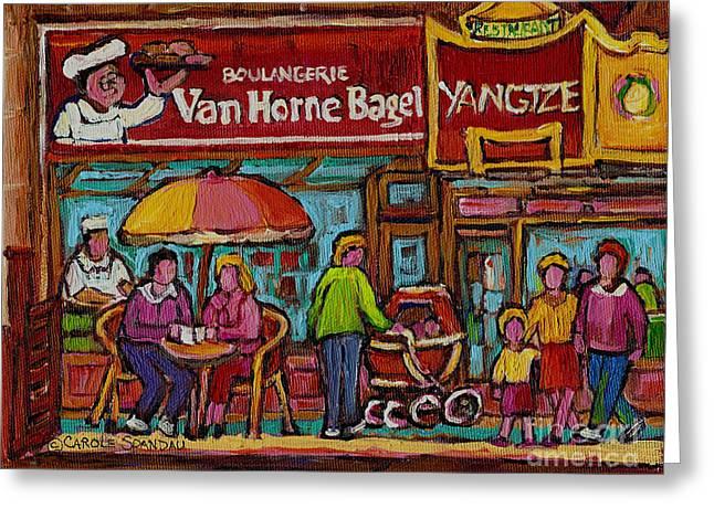 Bagel Shops Greeting Cards - Van Horne Bagel With Yangtze Restaurant Montreal Street Scene Greeting Card by Carole Spandau