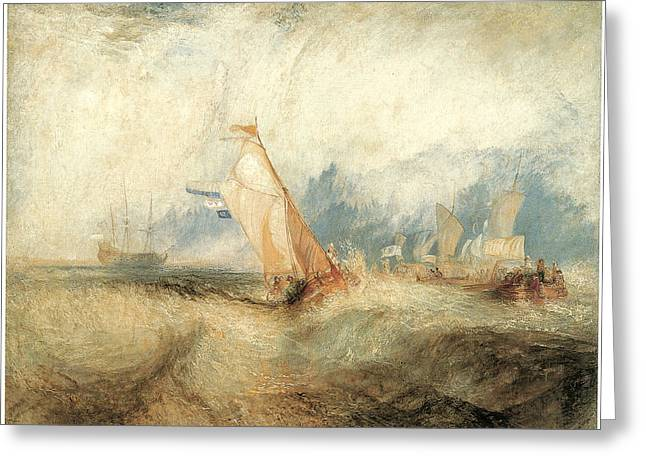 M J Greeting Cards - Van Tromp going about to Please his Masters Greeting Card by J M W Turner
