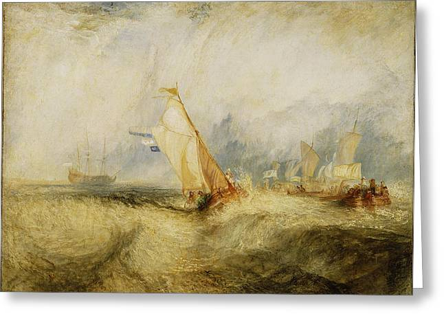 Sailing Ship Greeting Cards - Van Tromp Going About To Please His Masters - Ships A Sea Getting A Good Wetting, 1844 Oil On Canvas Greeting Card by Joseph Mallord William Turner