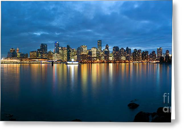 Vancouver Skyline Panorama Greeting Cards - Vancouver At Dusk Greeting Card by Terry Elniski