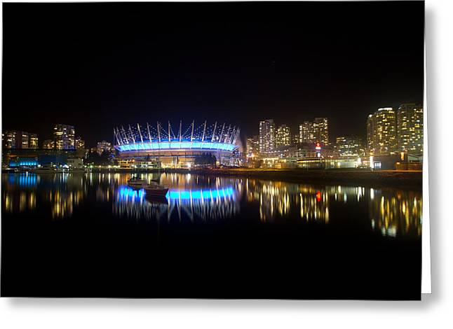 Vancouver At Night Greeting Card by Eti Reid