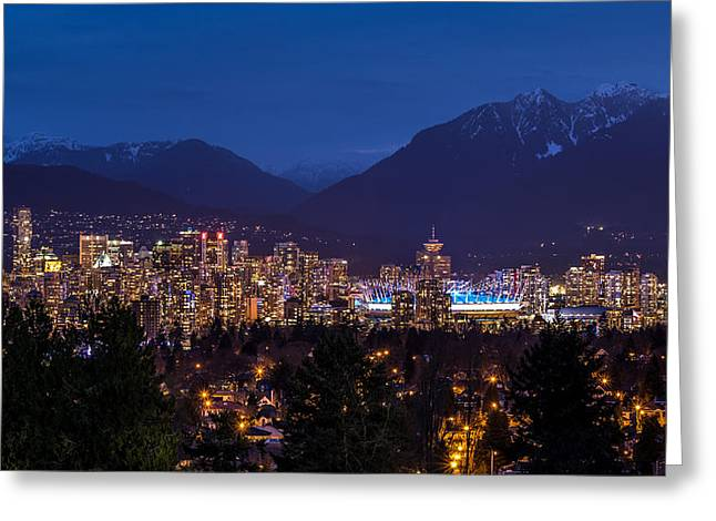 North Vancouver Greeting Cards - Vancouver at night Greeting Card by Pierre Leclerc Photography