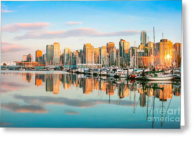 North Vancouver Greeting Cards - Vancouver at sunset Greeting Card by JR Photography