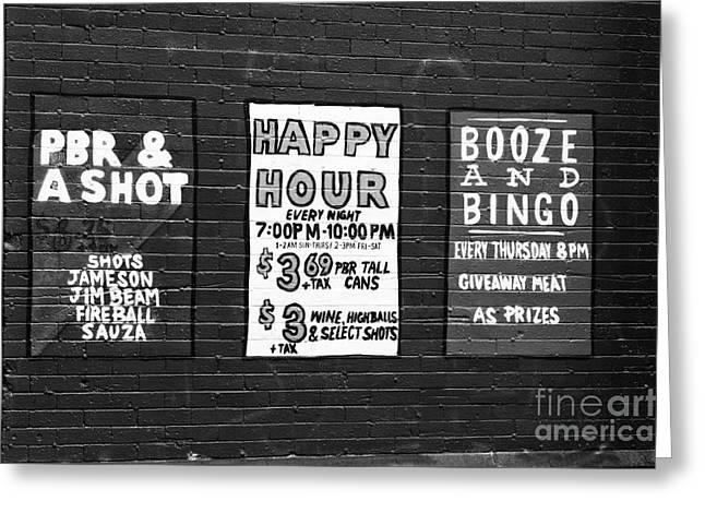Vancouver Bar Signs Greeting Card by John Rizzuto