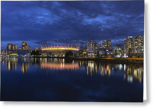 Cambie Bridge Greeting Cards - Vancouver BC Canada Skyline by False Creek at Blue Hour Greeting Card by JPLDesigns