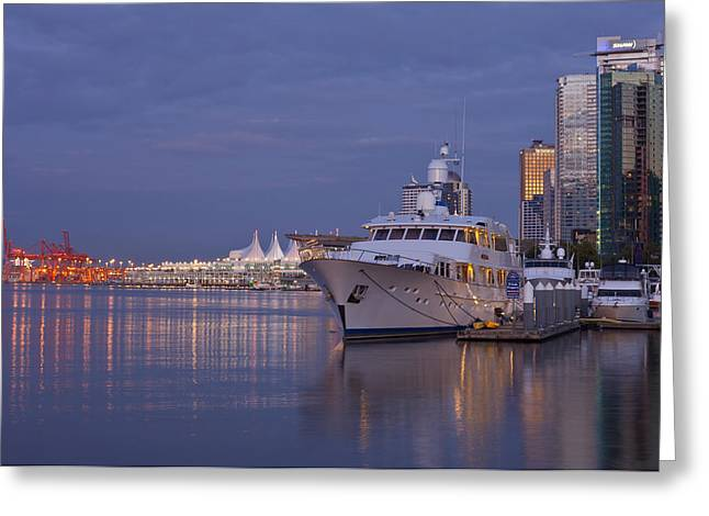 Vancouver Night Scene Greeting Cards - Vancouver BC Canada the waterfront scene at dusk. Greeting Card by Gino Rigucci
