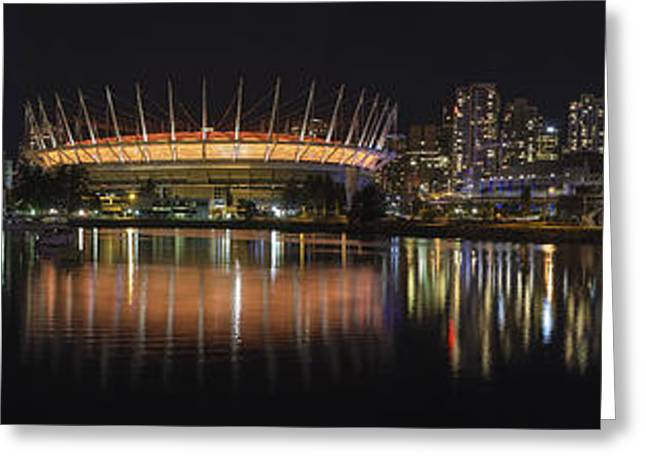 Cambie Bridge Greeting Cards - Vancouver BC City Skyline Night Scene Panorama Greeting Card by JPLDesigns