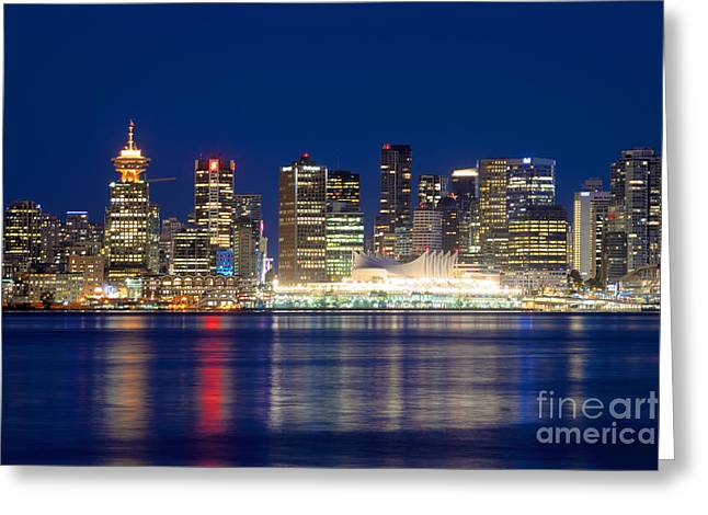 Burrard Inlet Greeting Cards - Vancouver Bc Evening Skyline Greeting Card by Terry Elniski