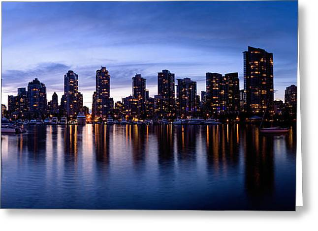 Cambie Bridge Greeting Cards - Vancouver Bc Skyline By Cambie St. Bridge Greeting Card by Terry Elniski