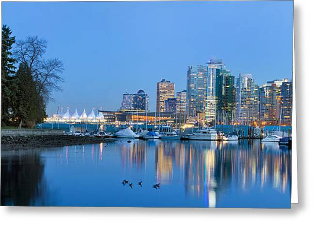 Sailboats Docked Greeting Cards - Vancouver BC Skyline from Stanley Park Greeting Card by JPLDesigns