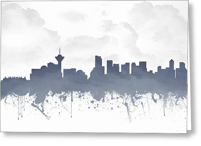 Vancouver Mixed Media Greeting Cards - Vancouver British Columbia Skyline - Blue 03 Greeting Card by Aged Pixel